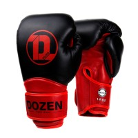 Боксерские перчатки Dozen Dual Impact Training Boxing Gloves Black/Red 12 Oz